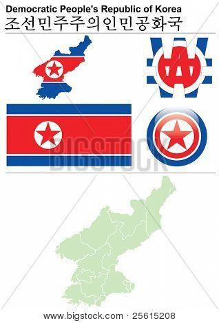 Nordkorea (Demokratische Volksrepublik Korea) Auflistung einschließlich Flag, Karte (administrative d