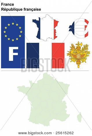 Raster version (vector available in my portfolio) of France collection including flag, plate, map (administrative division), symbol, currency unit & coat of arms
