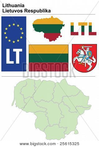 Raster-Version (Vektor in meinem Portfolio verfügbar) Litauen Sammlung einschließlich Flag, Plate, Karte