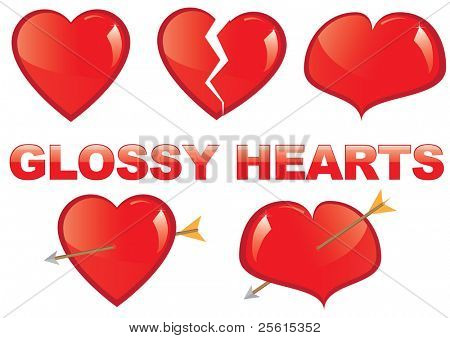 Set of glossy hearts