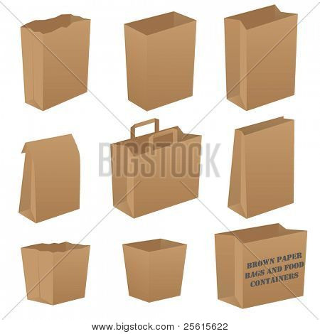 Brown paper bag set