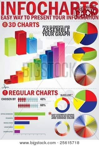 Infochart creative pack. Easy assembling elements for presentation and graph