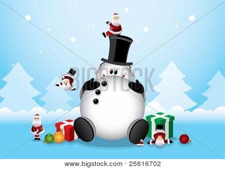 fat snowman with minature santa