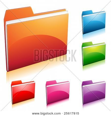 set of colorful folder icon