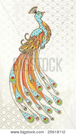 Peacock with wave pattern