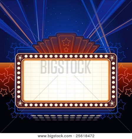 Theater Marquee with spotlights in night sky