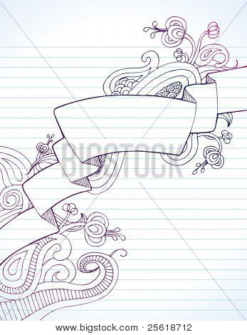 Blank banner surrounded by doodles on notebook paper
