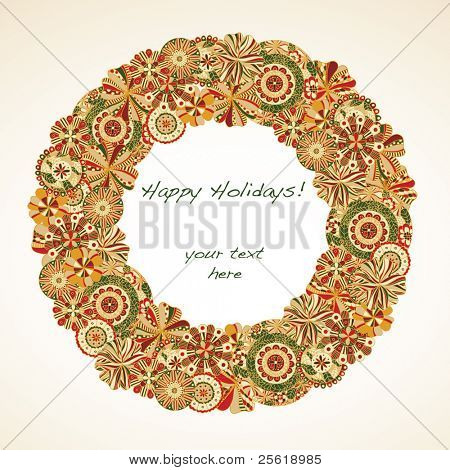 Holiday Wreath made of retro florals with room for text.