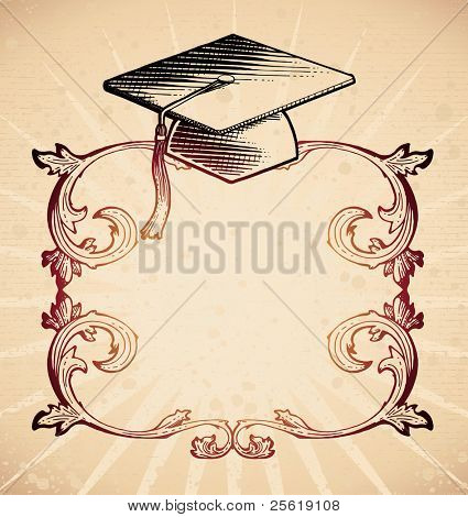 Frame with mortarboard in 18th century style.