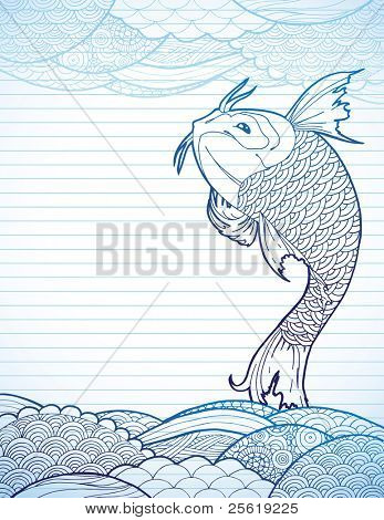 Hand drawn koi and waves on lined paper.
