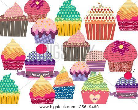 Set of sweet cupcakes