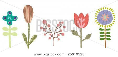 Set of Flower Vectors. Whimsical and Cute.