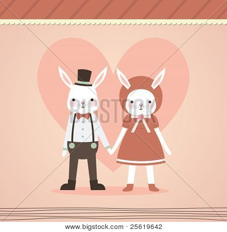Wedding Couple Holding Hand. Two Lovely Rabbits in Retro Style. Just Married.
