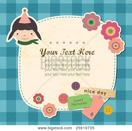 Vintage frame with Cute Girl. Greeting Card Design.