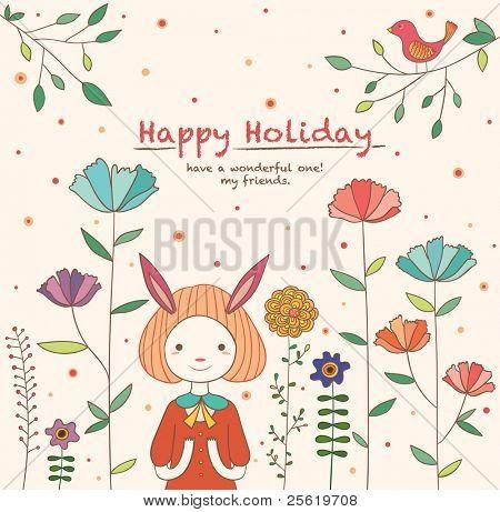 Lovely Rabbit Girl in the Flower Garden. Happy Holiday Card Design.