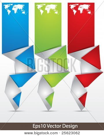 eps10 vector set of origami icon and banner concept design