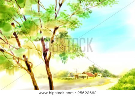 Beautiful Countryside Landscape with wide open blue sky