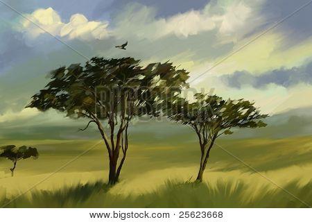 Vast African grassland  landscape with twin trees digital-oil color