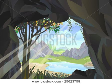 SUNBEAM  ENTERING CAVE CREATING A BEAUTIFUL  LAKESIDE VIEW