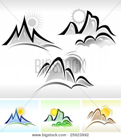 SUN AND MOUNTAIN ICON SET