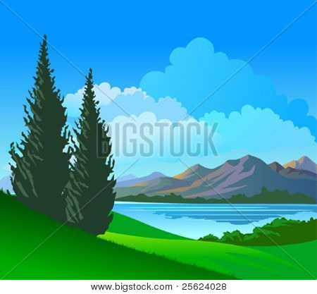 Beautiful Riverside  Pine Trees