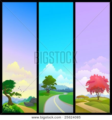 NEW - SET OF 3 NATURE BANNERS , ROAD TREE AND OPEN SKY