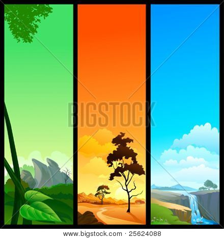 NEW !  SET OF 3 BEAUTIFUL NATURE BANNERS
