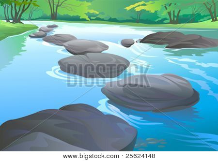 FRESH WATER STREAM IN TROPICAL FOREST