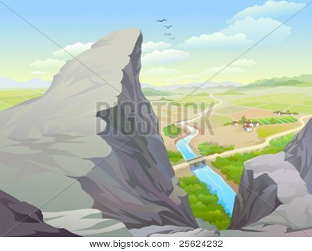 Amazing Rocky Hills , River and Vast Country Side