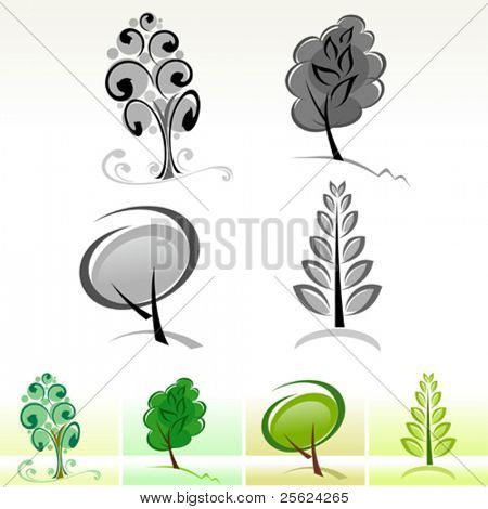 Abstract  Tree Icons and Symbols