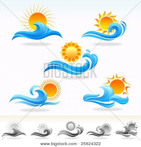 SUN N SEA VECTOR ICONS