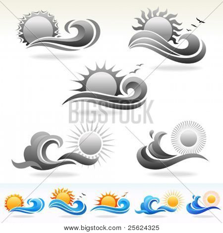 SUN AND SEA VECTOR ICONS