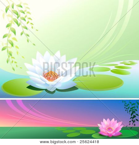 Abstract Lotus Flower In a Pond - Vector Background
