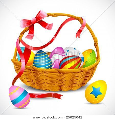 illustration of basket full of colorful decorated easter eggs with ribbon