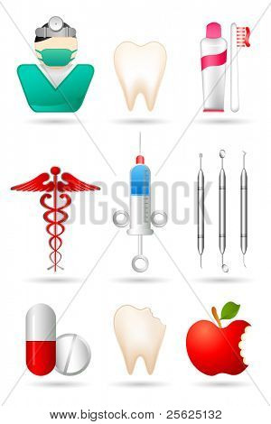 illustration of dental icon set with medicines and equipments on isolated background