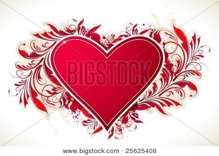 illustration of heart with floral swirls on abstract background