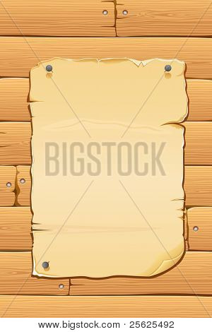 illustration of blank antique paper on wooden wall