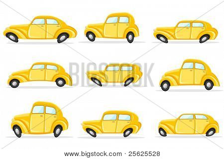 illustration of set of car in different shape on white background