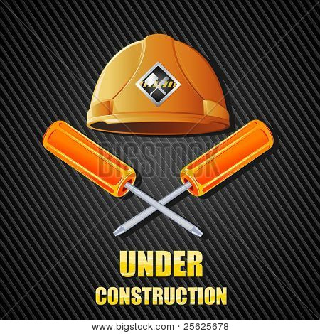 illustration of hard hat with screw driver on abstract textured background