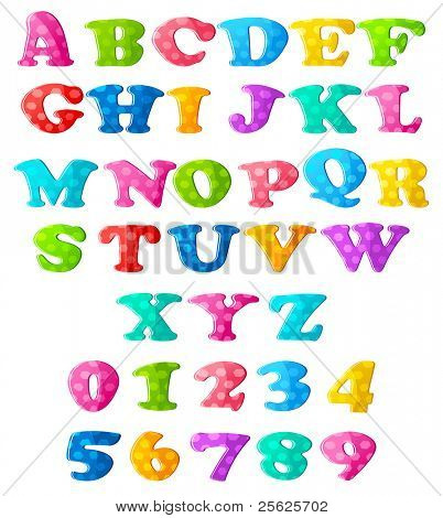illustration of set of colorful alphabets and numbers on isolated background