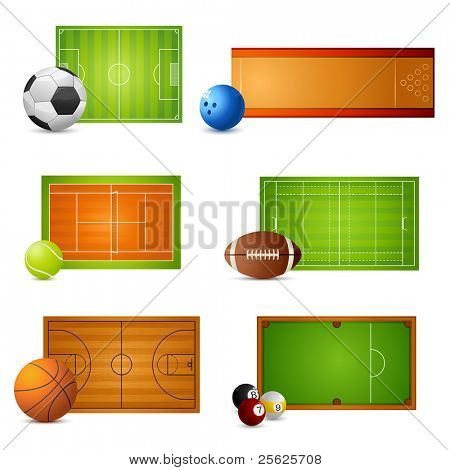 illustration of balls with court of different sports on white background