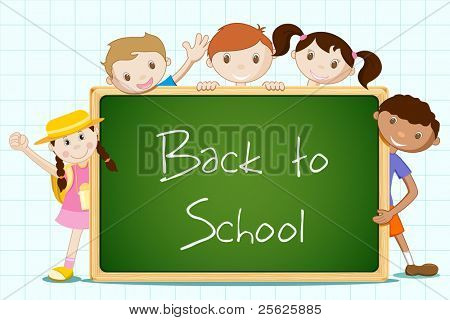 illustration of student standing with blackboard
