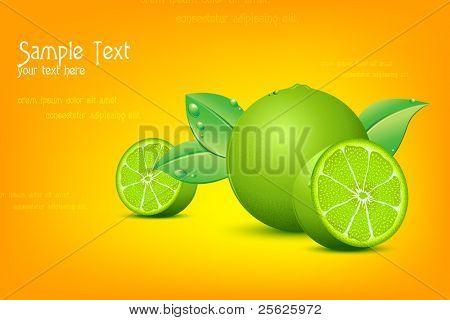 illustration of fresh lemon on abstract background