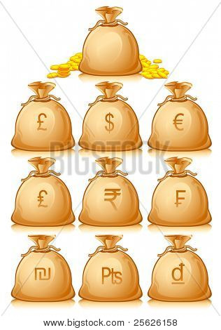 illustration of set of money bag for different currencies