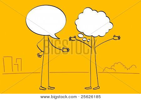 illustration of people with speech bubble head talking with each other