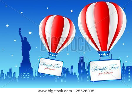 illustration of hot air balloon flying on american city new york with statue of liberty in background