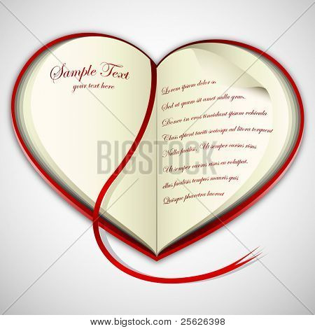 illustration of heart shape open book on abstract background