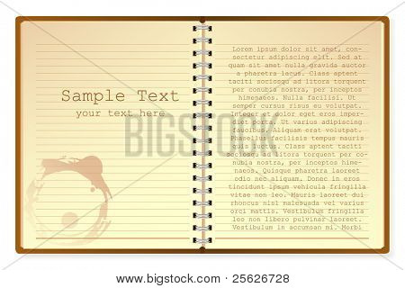 illustration of open diary on isolated white background