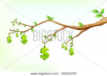 illustration of dollar symbol hanging from tree branch
