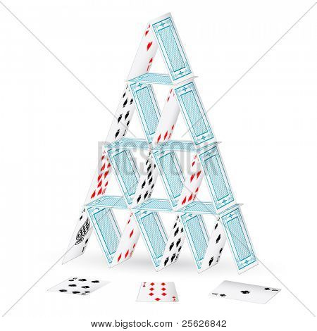 illustration of made of playing card on isolated background